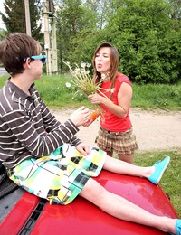 A horny teenage brunette nailed hard outdoors by a chap