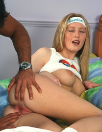 Porking her tight teenage snatch with his gigantic boner